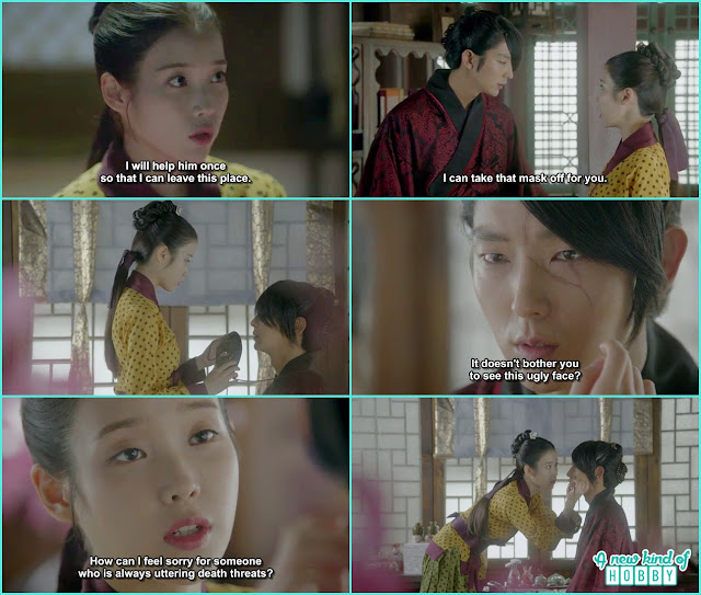 hae soo helped 4th prince removing his mask and hide the scar with makeup foundation  - Moon Lover Scarlet Heart Ryeo - Episode 8 - Review