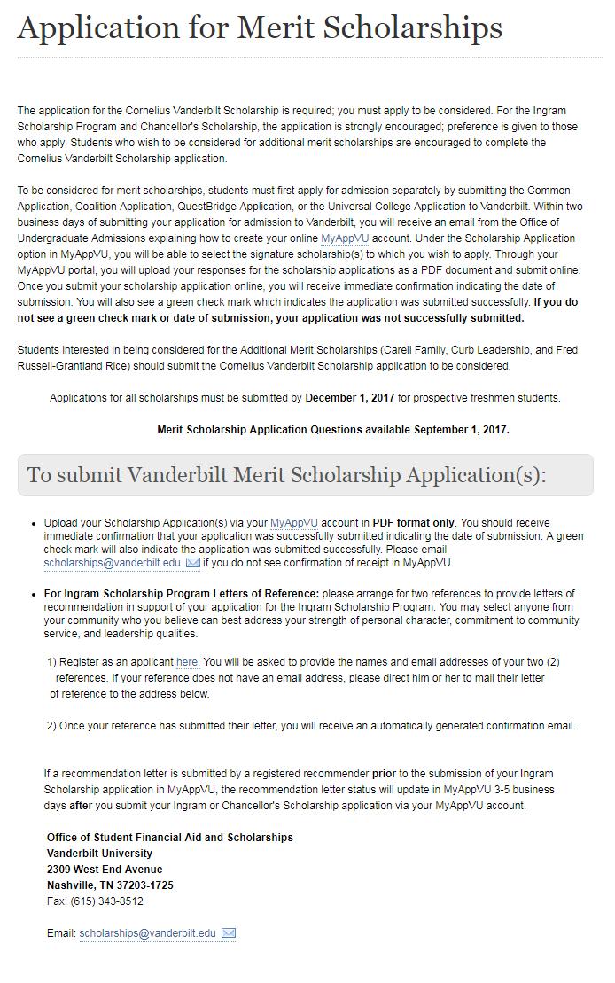 Merit Scholarships in Vanderbilt University USA