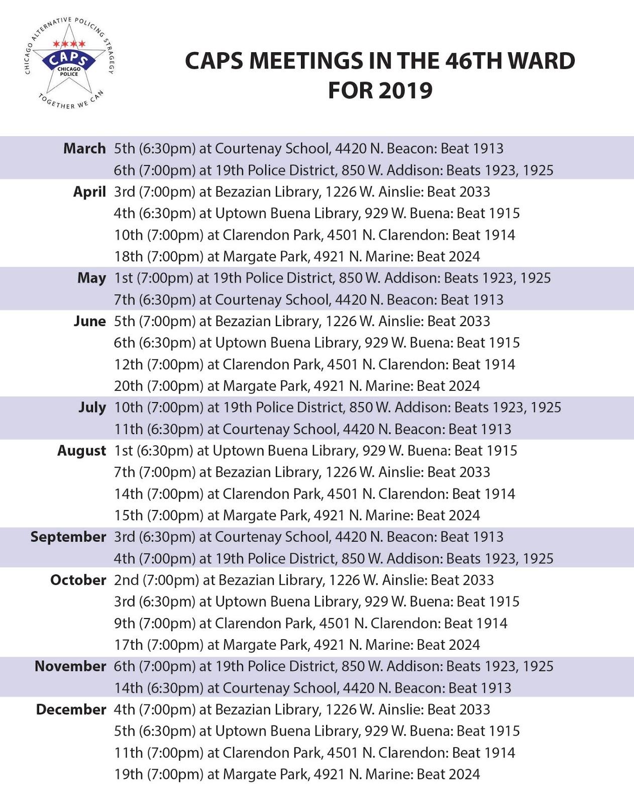 2019 Alds Schedule Uptown Update: 2019 Schedule of CAPS Meetings