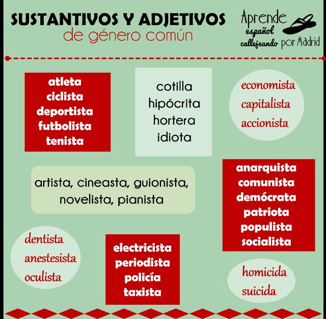 sustantivos y adjetivos de género común