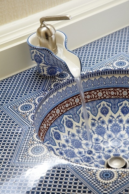 Blue Mosaic Bathroom Sink
