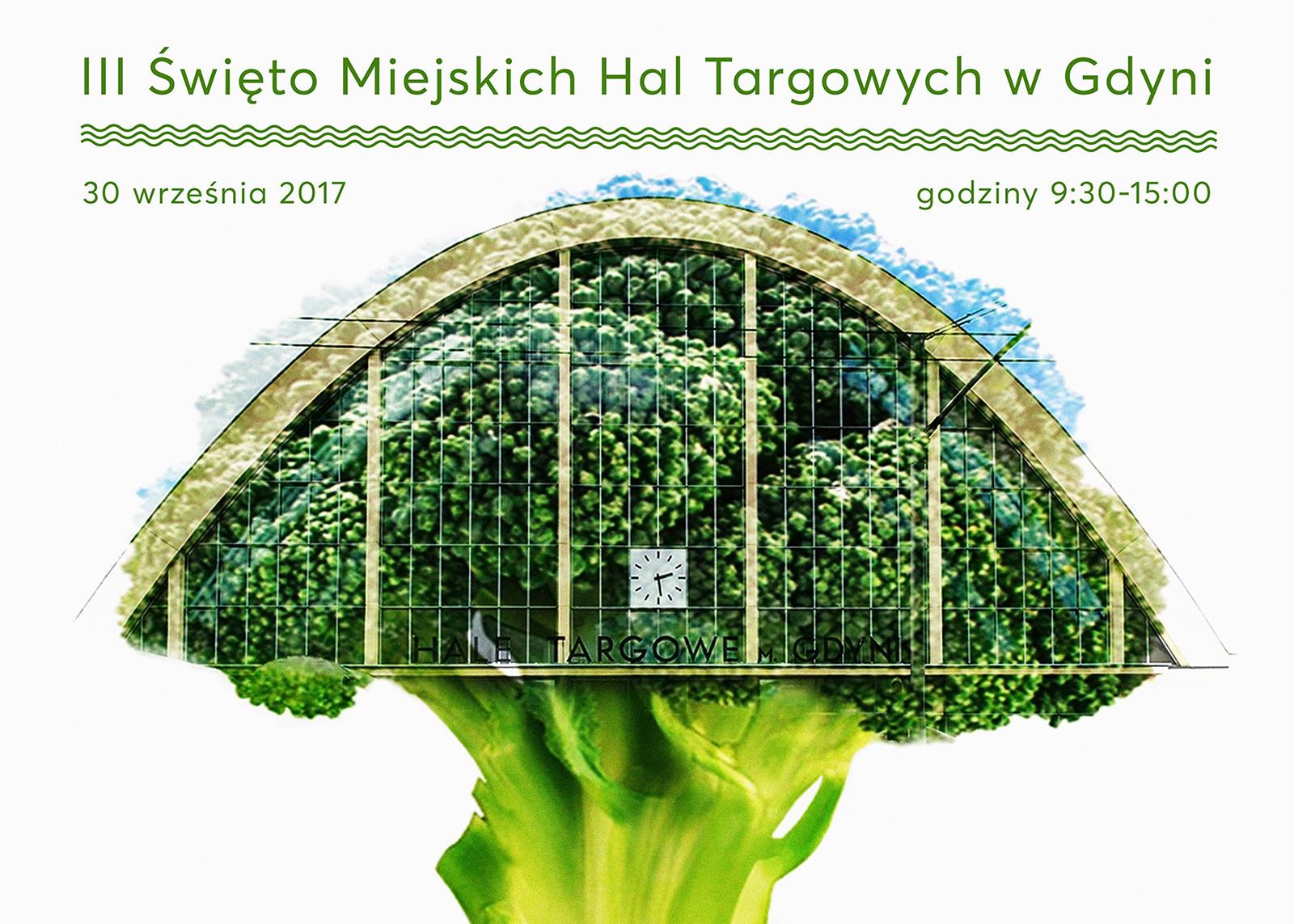 Plakat informacyjny i grafika Święta Miejskich Hal Targowych w Gdyni