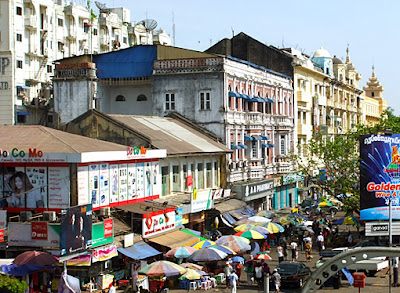 Yangon city center in old style