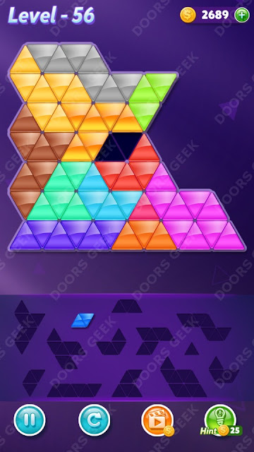 Block! Triangle Puzzle Champion Level 56 Solution, Cheats, Walkthrough for Android, iPhone, iPad and iPod