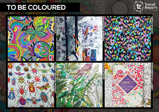 Adult colouring book, coloring book, coloring pages, to be coloured, colouring book illustrations, Johanna Basford, The secret garden, half coloured, unfinished illustration, Premiere Vision, colouring book fad, trend, fashion, teextiles, print design, textile design