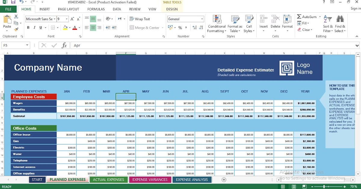 Business Expense Budget Excel Templates - ENGINEERING MANAGEMENT