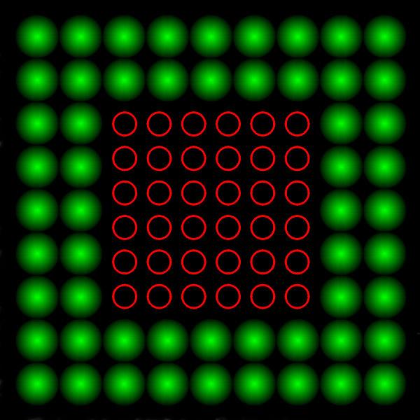 Yeşil bulanık kürelerden oluşmuş dış çerçeve içindeki kırmızı küçük çemberlerden oluşmuş kare