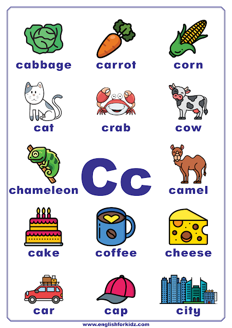 Printable alphabet poster - letter C with pictures - classroom wall decoration