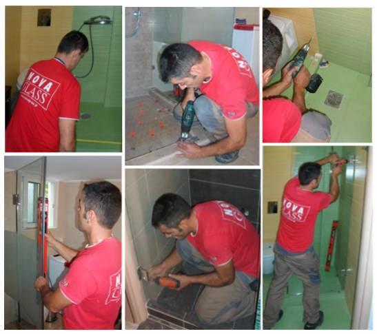 Το εξειδικευμένο προσωπικό της Novaglass κατά τη μελέτη, μέτρηση και τοποθέτηση καμπινών μπάνιου