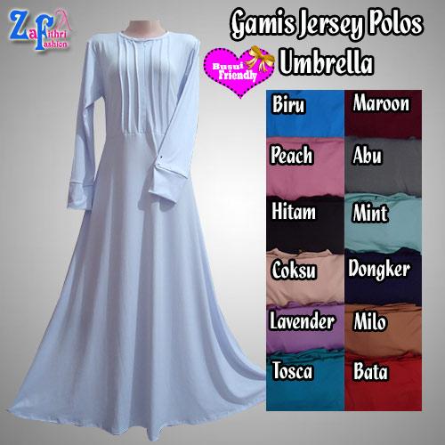 Gamis Syar I Polos Umbrella Bahan Jersey Terbaru