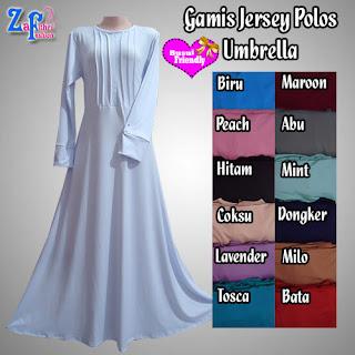 Gamis Syar'i Polos Umbrella Bahan Jersey Terbaru