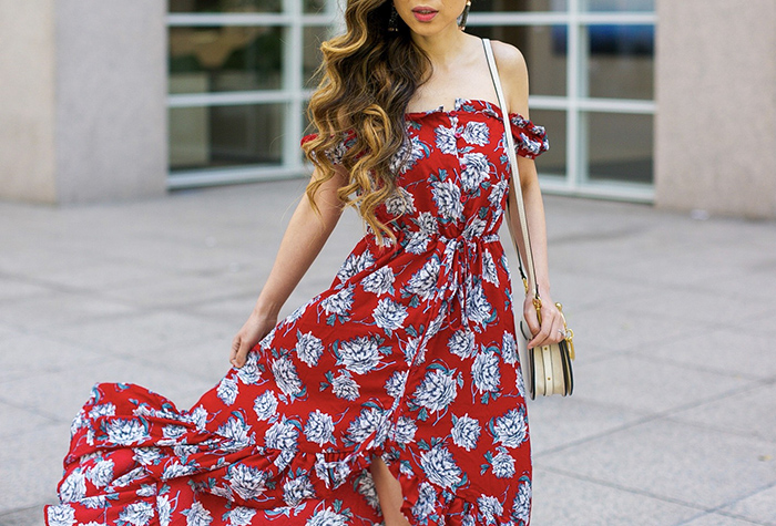 Floral off shoulder high low dress, chloe nile bag, schutz pumps, kendra scott earrings, maxi dress, san francisco fashion blog, san francisco street style, date night outfit ideas