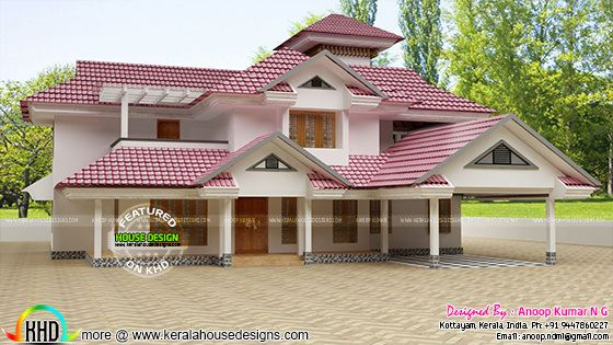 New slope roof house plan