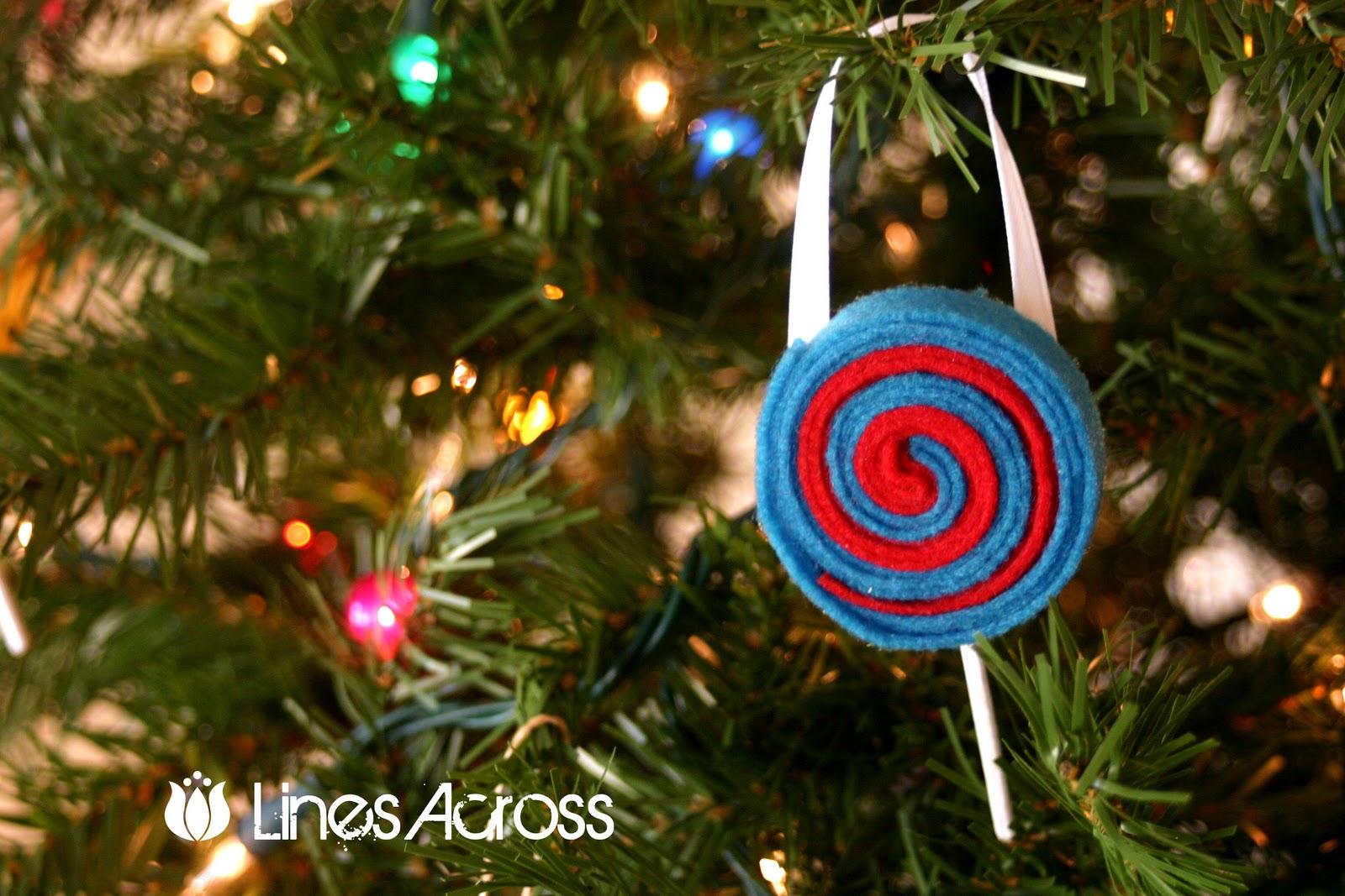 Felt Lollipop Ornaments Lines Across
