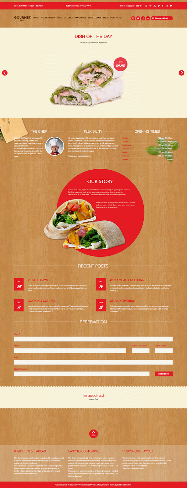 Responsive Restaurant Website Theme