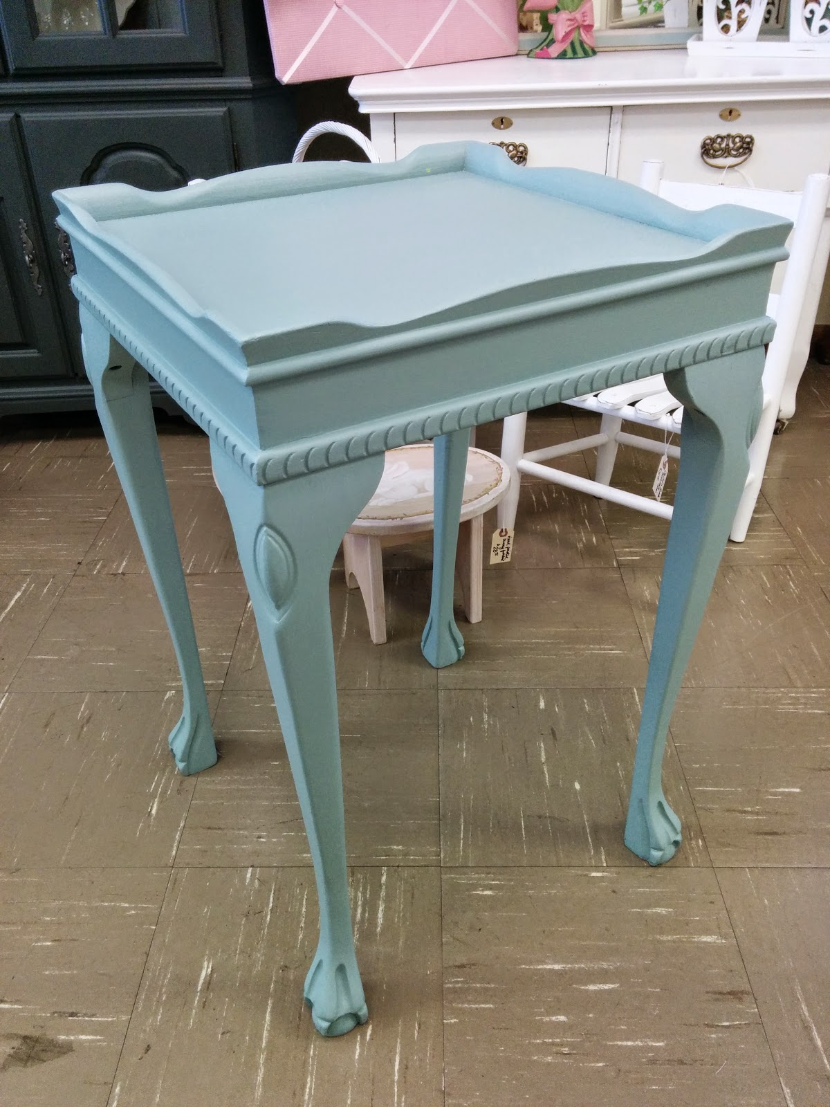 For My Decoupage Project, I Used An Accent Table I Had At The Shop. It Has  Great Lines But Needed Something More Than Just Paint.