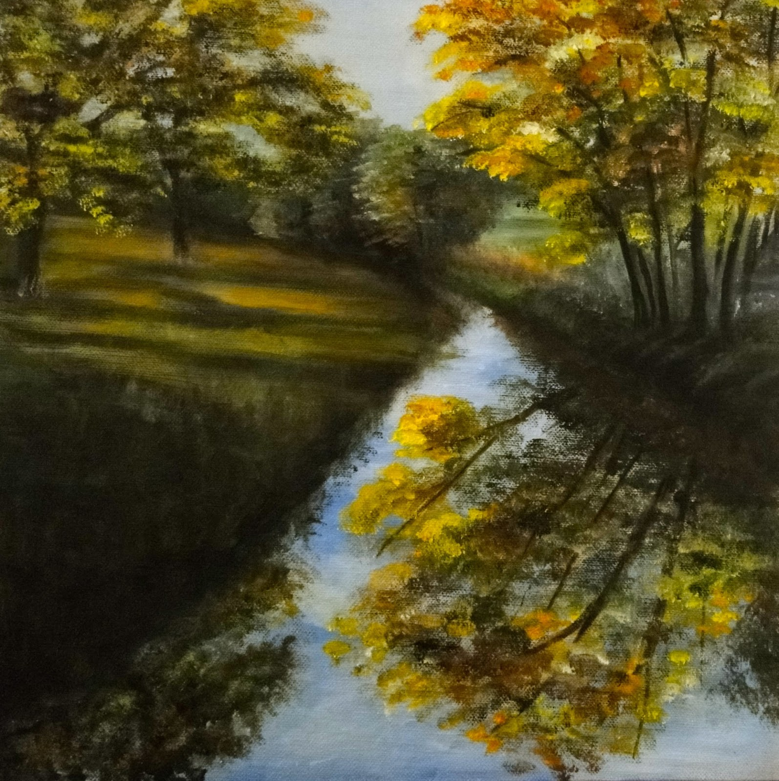 Oil painting of autumn trees, river and landscape