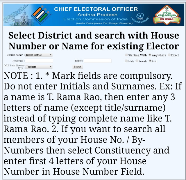 MLC Election Vote Search Select District and search with House Number or Name for existing Elector