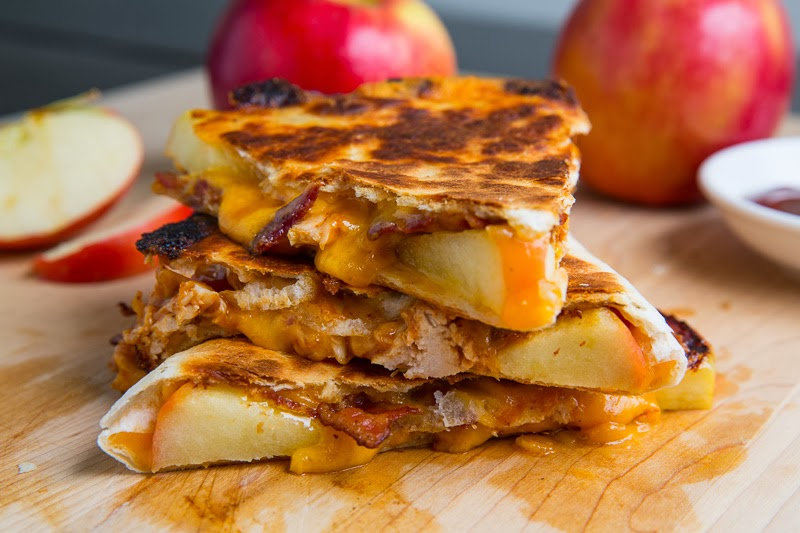 BBQ Chicken, Apple, Bacon and Cheddar Quesadillas