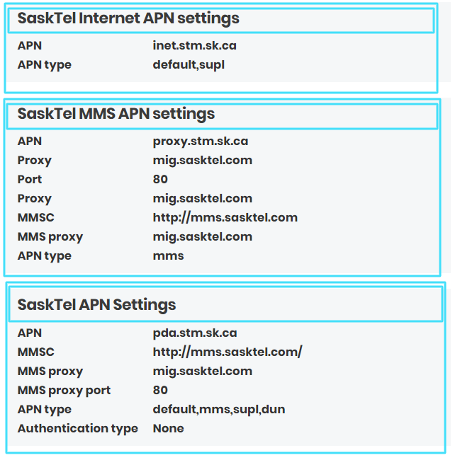 New SaskTel  APN Settings