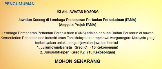 Rasmi - Jawatan Kosong (FAMA) Lembaga Pemasaran Pertanian Persekutuan 2019