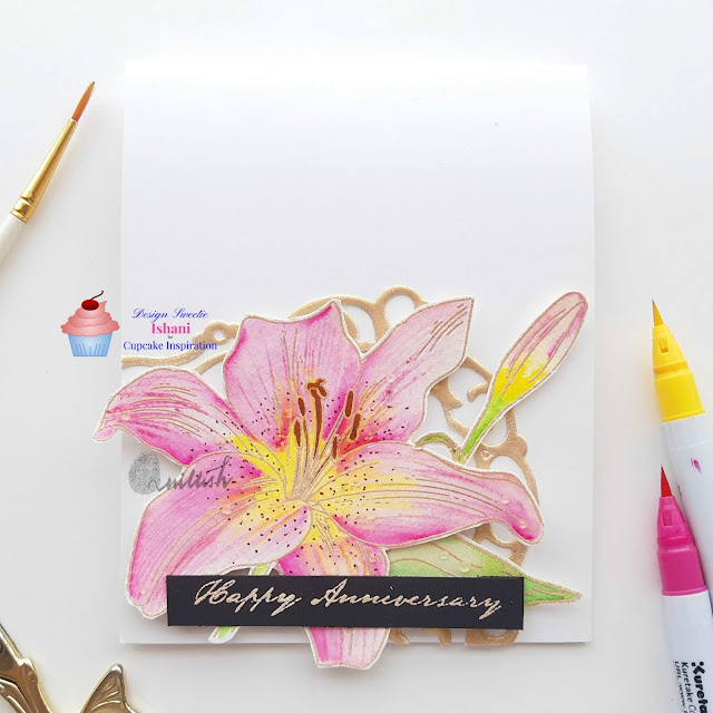 CIC, Uniko Ltd, Zig clean colour brush pens, floral card, Anniversary card, CAS card, water colouring, heat embossing, Quillish,CArds byIShani, Cupcale Inspirations Ishani, Heat embossed frame, Uniko Ltd lily stamp. Lily card, Lilies for anniversary, Happy anniversary card online india