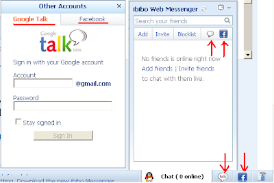 Google Talk and Facebook friend chat on ibibo