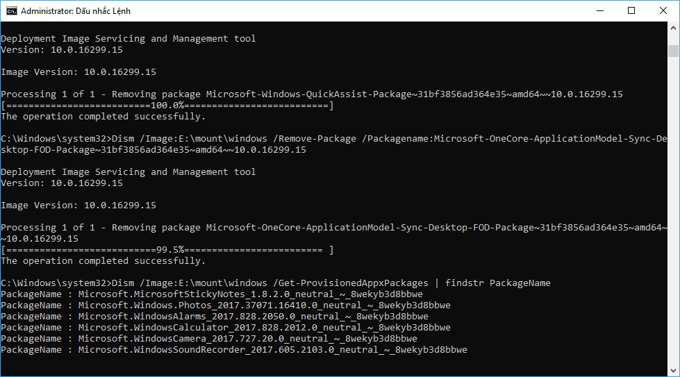 Hướng dẫn tháo gói package hệ thống của Windows 10 offline bằng batch file