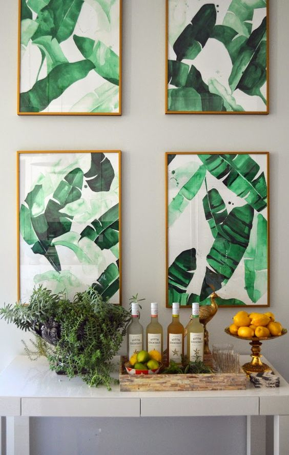 Tropical print wall art