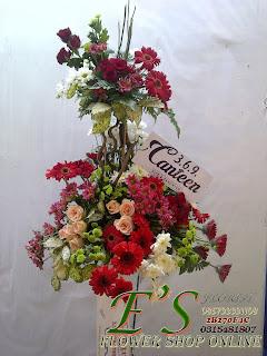 rangkaian bunga standing flower pembukaan tokobaru atau peresmian kantor