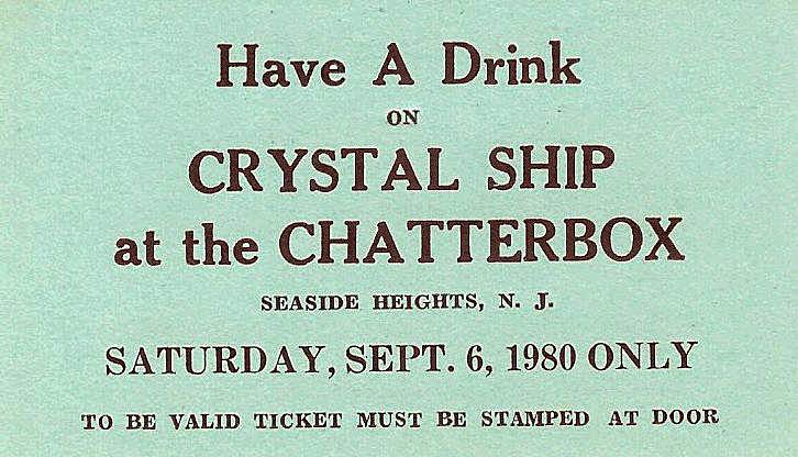 Free drink from Crystal Ship at The chatterbox September 6, 1980