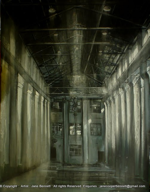 ink and charcoal drawing of Turbine Hall in interior of White Bay Power Station by artist Jane Bennett