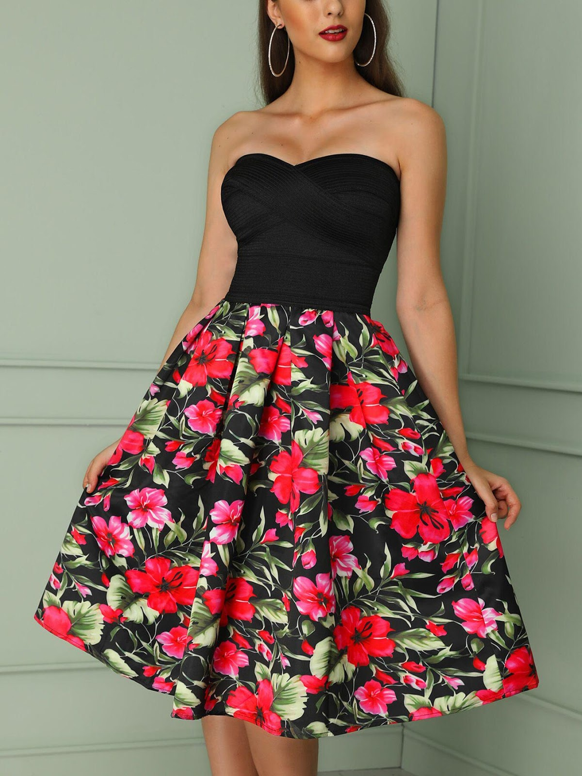 Floral Print Patchwork Pleated Bandage Tube Dress