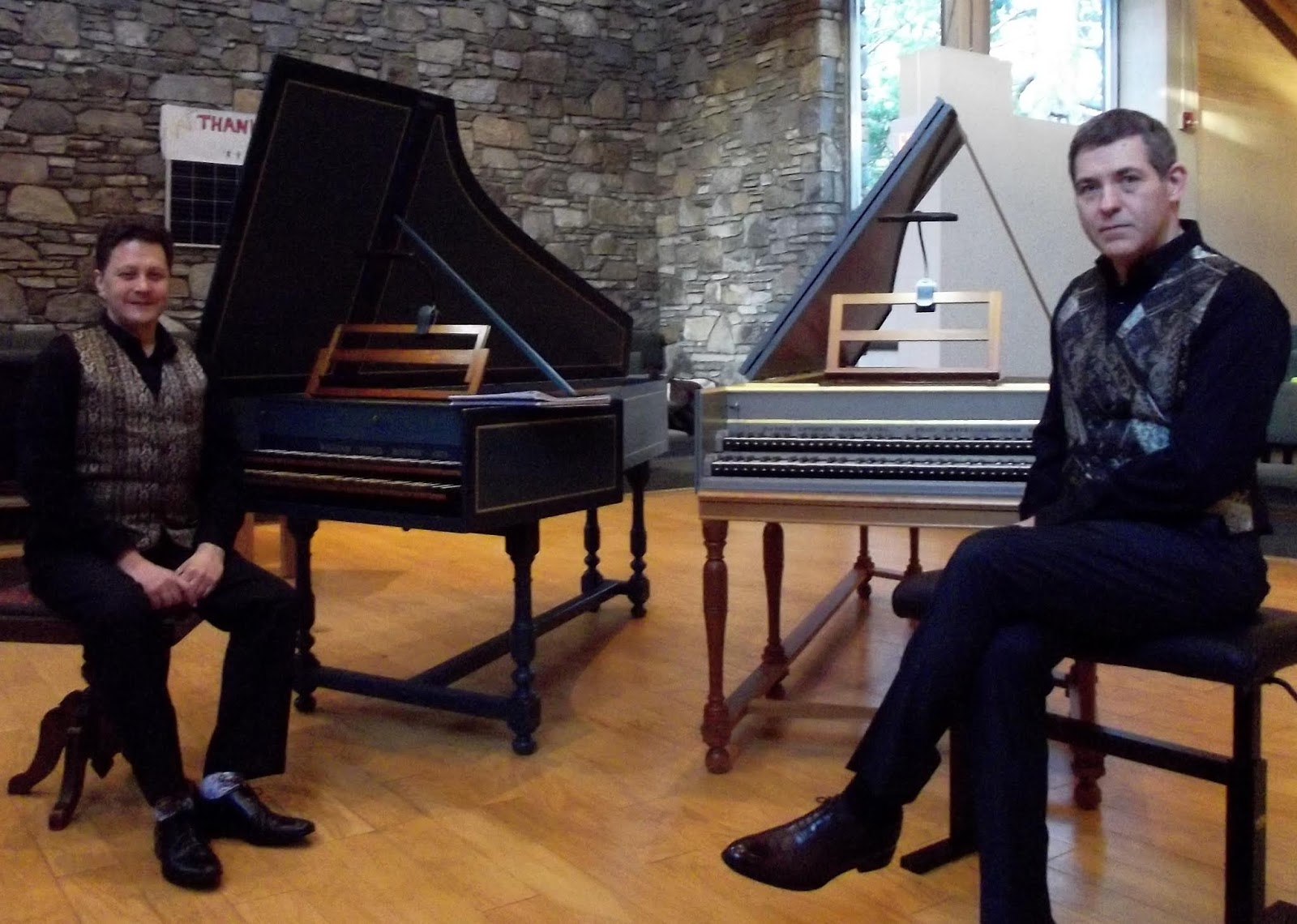 IN PERFORMANCE: internationally-acclaimed harpsichordists JORY VINIKOUR (left) and PHILIPPE LEROY (right), who brought a recital of music for two harpsichords to Asheville, North Carolina, on 20 October 2018 [Photo by the author, © by Joseph Newsome / Voix des Arts; used with the artists' permission]