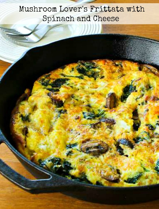 Mushroom Lover's Frittata with Spinach and Cheese found on KalynsKitchen.com