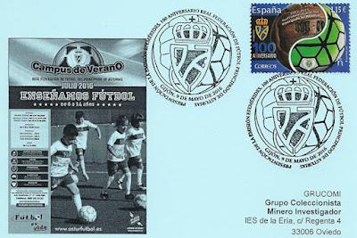 Tarjeta con matasellos de Presentación del Sello del Centenario de la Real Federación de Fútbol del Principado de Asturias