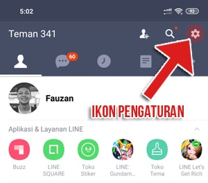 Menu utama LINE messenger
