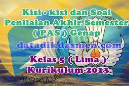 Soal PAS / UKK Kelas 5 Semester 2 Kurikulum 2013