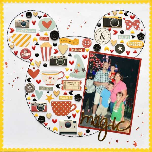Disney Scrapbook Layout with hand stitching by Christine Meyer