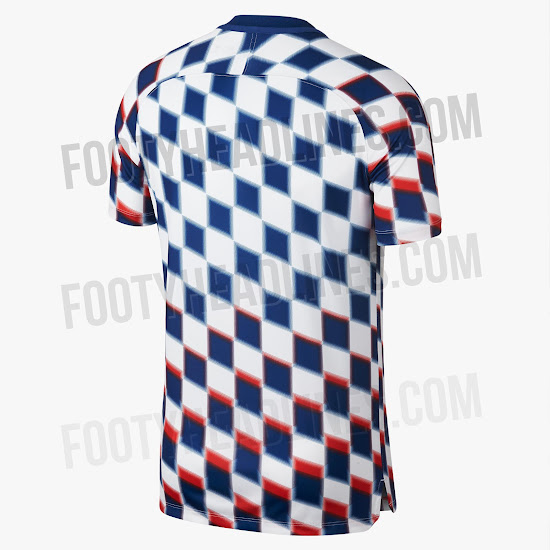 07e7f5de457 ... the 18-19 pre-match shirt is predominantly white with a bold graphic  print that combines blue and red checkers to create a truly eye-catching  look.