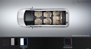 Nội thất Mercedes V250 Avantgarde 2016 màu Vàng/Đen VX9