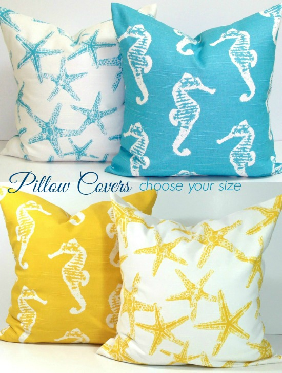 Beach Pillow Covers Bright Blue and Yellow
