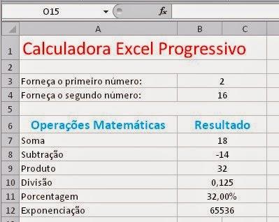 Planilha de uma calculadora - Apostila de Excel - Certificado