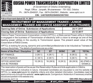 Odisha OPTCL Management  Trainee Finance,Junior MT Recruitment Exam Notification 2017 25 Govt Jobs Online