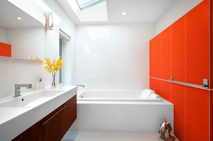 turuncu beyaz banyo duvarı