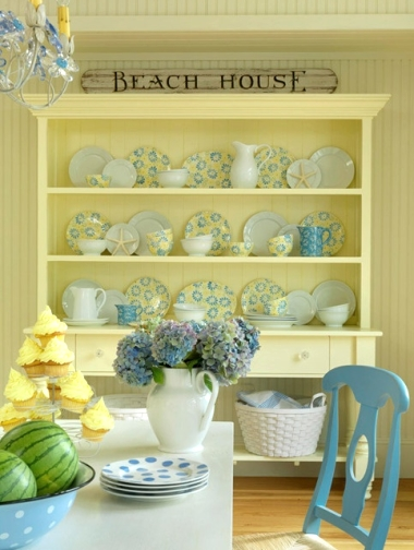 country coastal yellow dining room