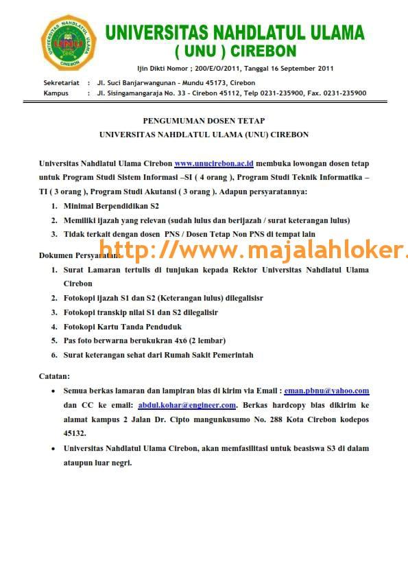 Lowongan Dosen Tetap Universitas Nahdlatul Ulama Unu Cirebon Mei 2017 Materi Pendidikan