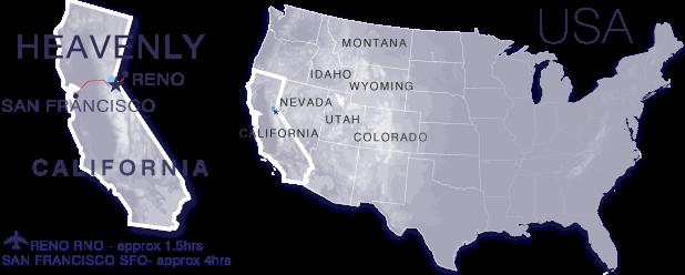 Mapa da cidade Heavenly na Califórnia
