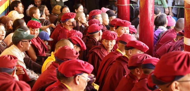 A sea of red Drukpa caps at Hemis Monastery Festival 2016