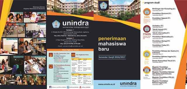 Brosur Pendaftaran Unindra 2016